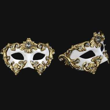 Wit oogmasker baroque handgemaakt