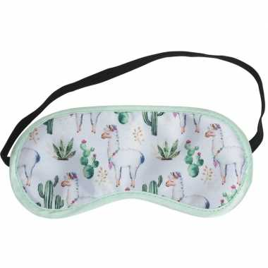 Wit slaapmasker/oogmasker met alpaca/lama