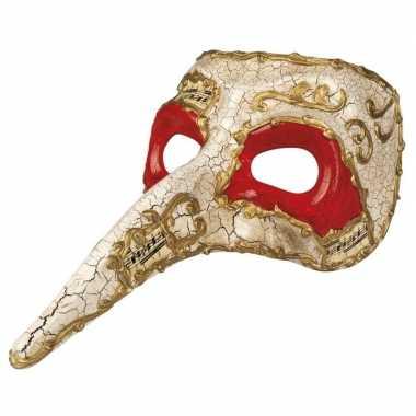 Wit venetiaans snavel masker voor heren