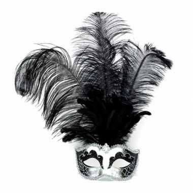 Zilver venetiaans oogmasker met zwarte veren