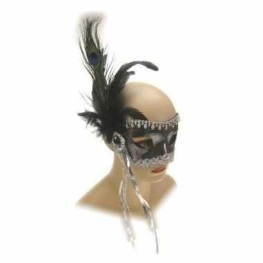 Zilveren verkleed oogmasker met kralen en veren