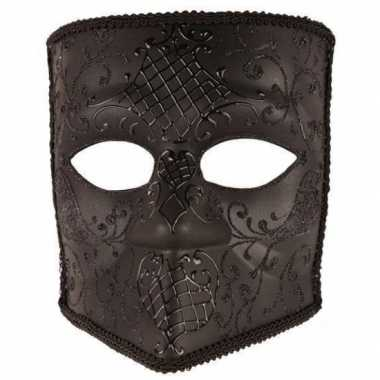 Zwart bauta masker voor heren