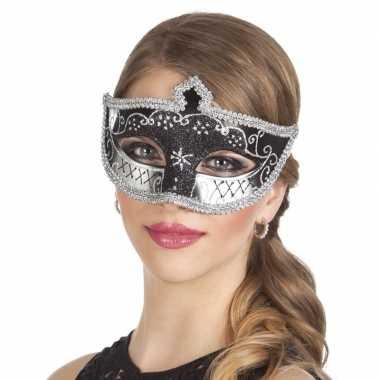 Zwart/zilver oogmasker met glitters voor dames