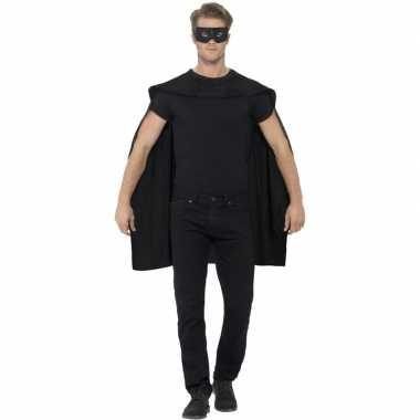 Zwarte cape met oogmasker voor volwassenen