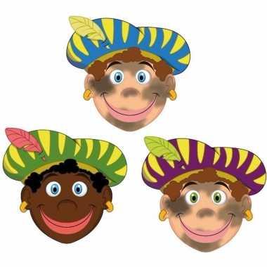 Zwarte pieten maskers setje 3 stuks
