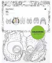 6x knutsel papieren maskers om in te kleuren voor kinderen