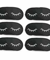 6x slaapmaskers met slapende oogjes zwart wit