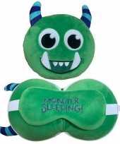 Groen monster knuffel reiskussen slaapmasker 3 in 1 voor kinderen