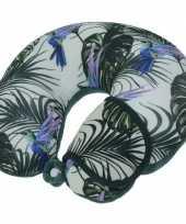 Groen nekkussen reiskussen en slaapmasker tropische vogels