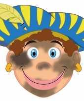 Kartonnen roetveeg pieten masker voor kinderen 10096321