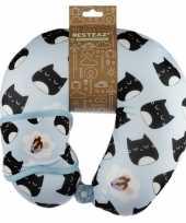 Nekkussen met slaapmasker kat poes print voor kinderen