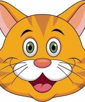 Oranje katten maskers van karton