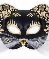 Plastic zwarte poezen oogmasker