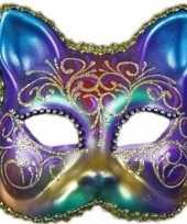 Regenboog kat masker handgemaakt