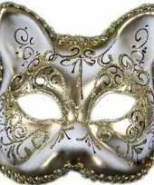 Venetiaans katten poezen gezichtsmasker wit goud
