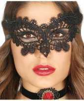 Zwart kanten oogmasker voor dames 10124296