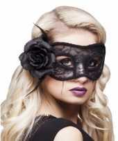 Zwart oogmasker met roos voor dames