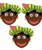 Zwarte pieten maskers setje 3 stuks 10096305